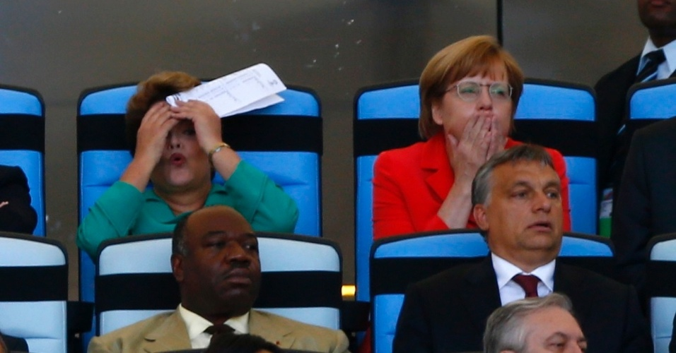 Presidente Dilma Rousseff e chanceler alemã Angela Merkel reagem a lance da final da Copa no Maracanã