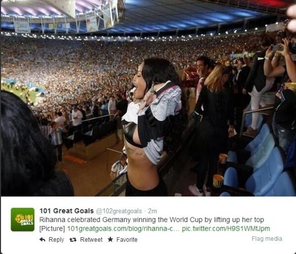 Rihanna se empolgou ao comemorar o título da Alemanha no Maracanã