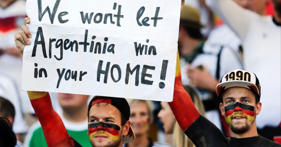 """Torcedores alemães pedem apoio dos brasileiros no Maracanã: """"Não vamos deixar a Argentina vencer em sua casa"""""""