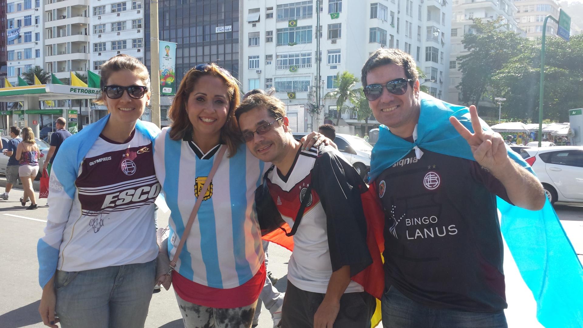 Torcedores da Argentina e da Alemanha se misturam em Copacabana para festa antes da final da Copa do Mundo