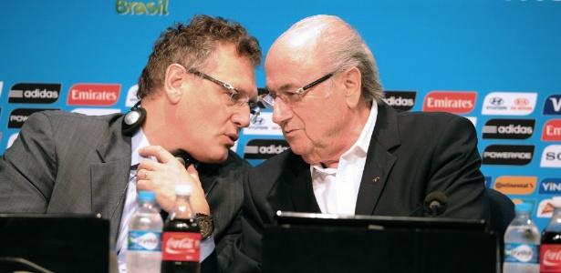 Jérome Valcke e Joseph Blatter concederam entrevista coletiva no Maracanã