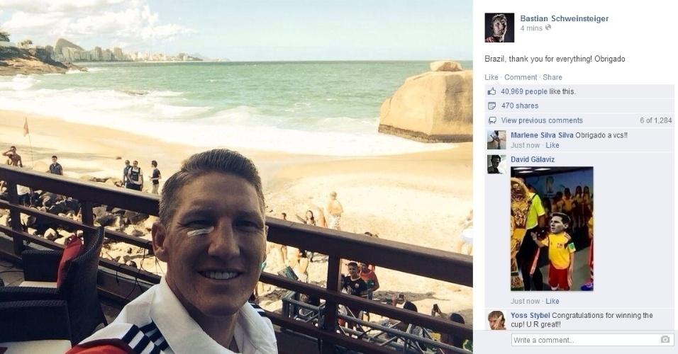 """14.jul.2014 - Schweinsteiger publica 'selfie' e manda mensagem de agradecimento ao Brasil: """"Obrigado por tudo"""""""