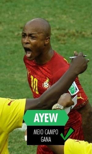 Andre Ayew - O jovem atacante fez dois gols na Copa e foi um dos poucos ganeses a se salvar após a eliminação na primeira fase