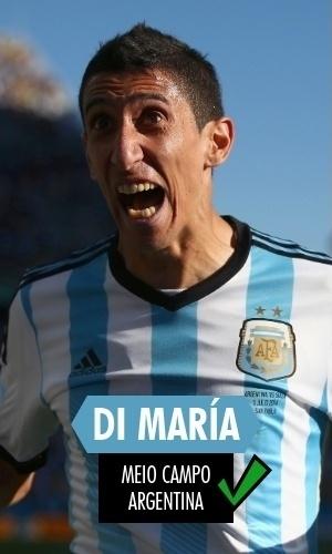 Di María - O atacante argentino marcou o gol da vaga de sua seleção nas quartas no final do 2° tempo da prorrogação contra a Suíça e foi a válvula de escape de Messi enquanto pôde atuar. Lesionado, fez falta na final