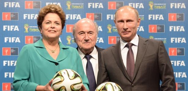 Dilma Rousseff, Joseph Blatter e Vladimir Putin participam de encontro antes da final da Copa