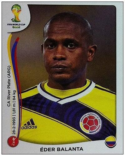 Figurinha de Balanta, da Colômbia, tem Valencia como jogador presente