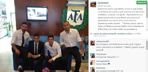 Lavezzi, Di María, Messi e Mascherano na sede da AFA