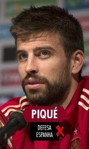 Piqué - O zagueiro espanhol teve atuação desastrosa contra a Holanda, quando a Espanha levou de 5 a 1, e perdeu a vaga para a segunda partida de seu time na Copa