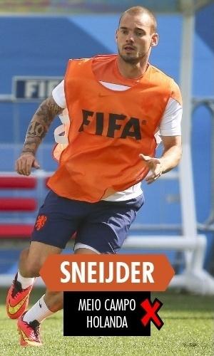Sneijder - Foi titular da Holanda durante todo o Mundial, mas não mostrou o mesmo futebol de 2010; isolado n o meio de campo graças ao esquema holandês, via a bola passar direito da defesa para Robben e não fez nada para mudar o panorama