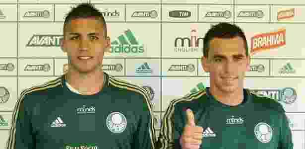 Argentinos Tobio (esq.) e Mouche ainda são do Palmeiras - Cesar Greco/Ag. Palmeiras/Divulgação