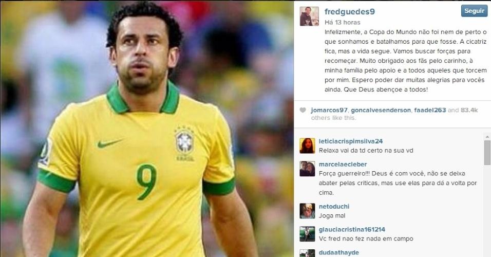 Fred usou sua conta no Instagram para desabafar e dizer que vai buscar forçar para recomeçar