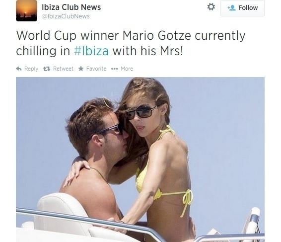 Götze curte férias com a namorada Ann-Kathrin Brommel em Ibiza
