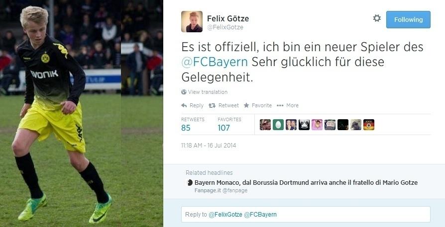 Na última quarta-feira, Götze viu seu irmão mais novo, Felix, acertar contrato com o Bayern de Munique para jogar pela equipe sub-17