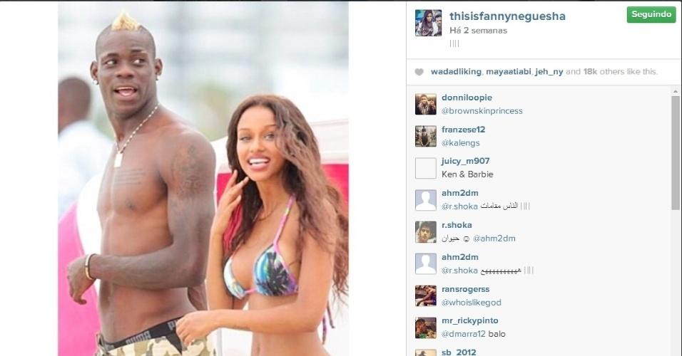 Balotelli e Fanny Neguesha curtem a praia