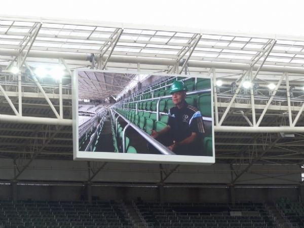 O telão da Arena do Palmeiras também foi testado nesta sexta-feira