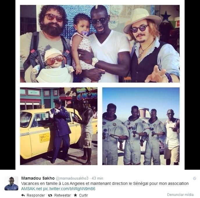 Mamadou Sakho foi a Los Angeles com a família e aproveitou para curtir as atrações do local