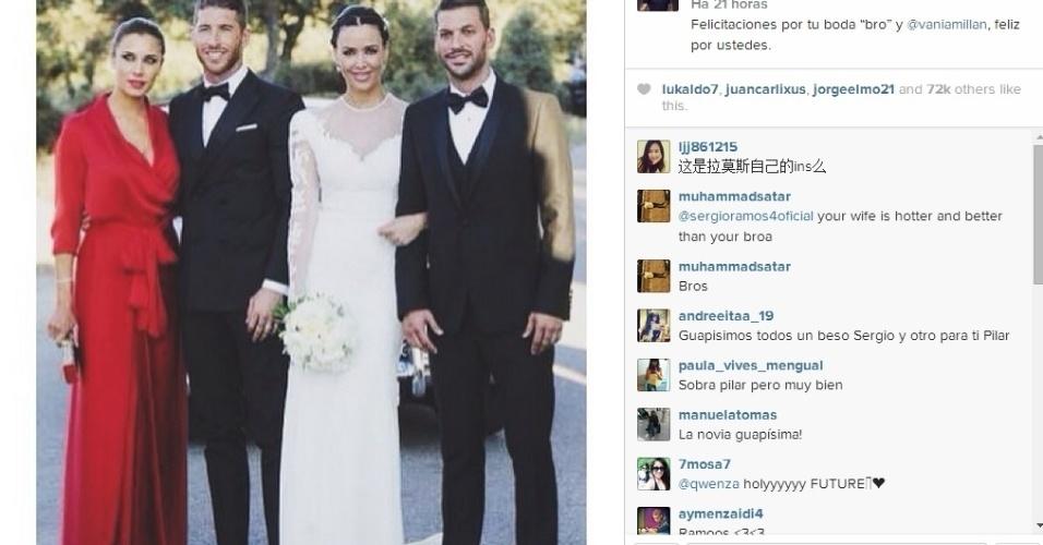Sergio Ramos aproveita para curtir o casamento do seu irmão, Rene Ramos, com a modelo Vania Millán