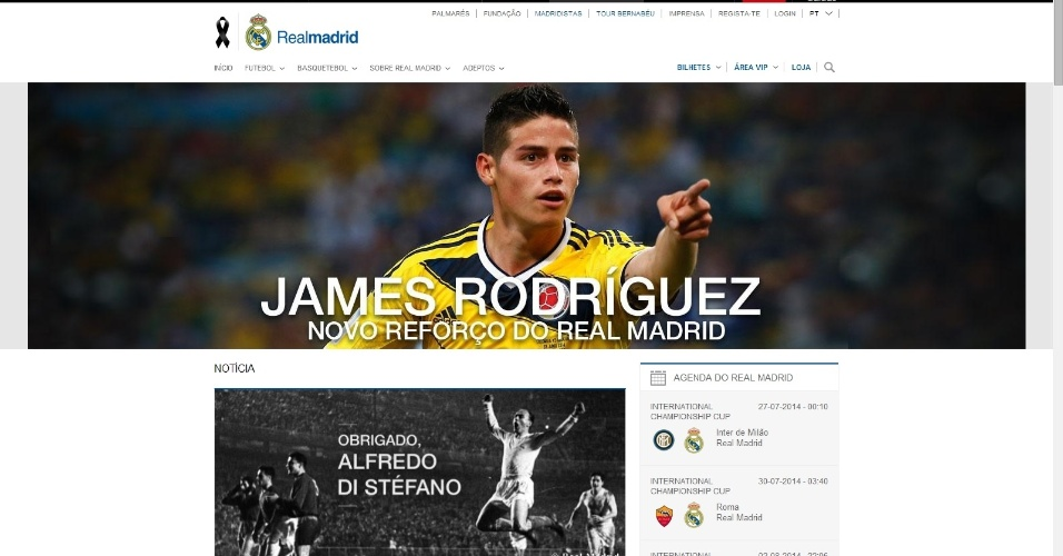 Site do Real Madrid anuncia contratação de James Rodríguez