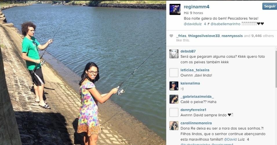 A mãe de David Luiz postou em seu Instagram o que o filho está fazendo para curtir as férias - e esquecer o fracasso da seleção. E nada como uma pescaria para pensar na vida e organizar as ideias
