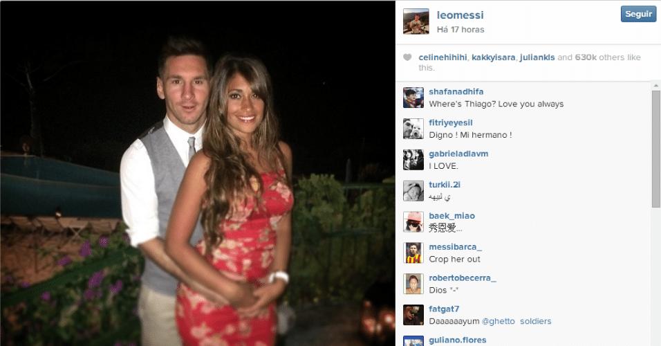 Messi, casado Antonella Raccozzo, ficou na companhia da mulher