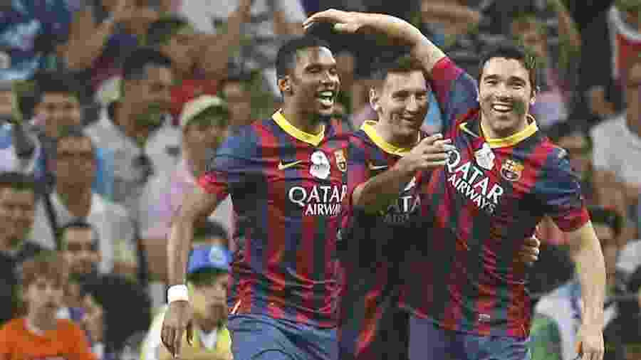"""Messi voltou a jogar com Eto""""o e Deco, como no início da carreira em jogo comemorativo em 2014 - EFE/EPA/ESTELA SILVA"""