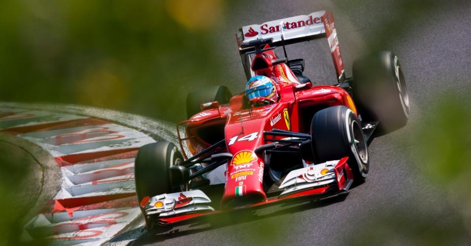 26.jul.2014 - Fernando Alonso pilota sua Ferrari pelo circuito de Hungaroring durante o treino de classificação para o GP da Hungria
