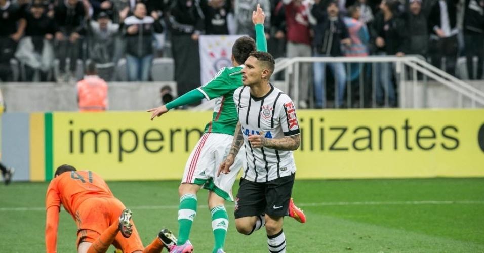 Guerrero comemora o gol contra o Palmeiras no primeiro clássico da história do Itaquerão - 27 julho 2014