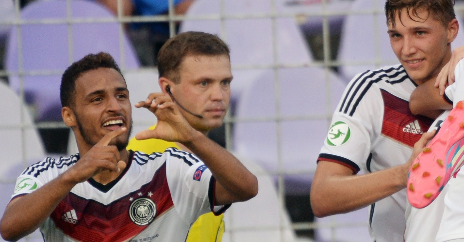 31. jul. 2014 - Hany Mukhtar, da Alemanha, comemora gol marcado pela final da Euro sub-19, contra Portugal, na Hungria