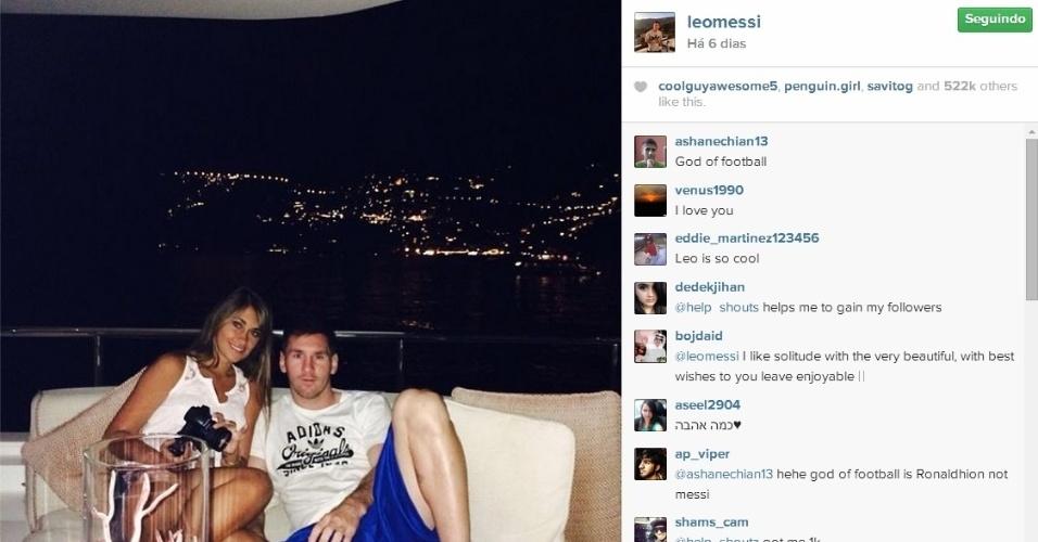 Messi curte noite em alto mar com Antonella Roccuzzo