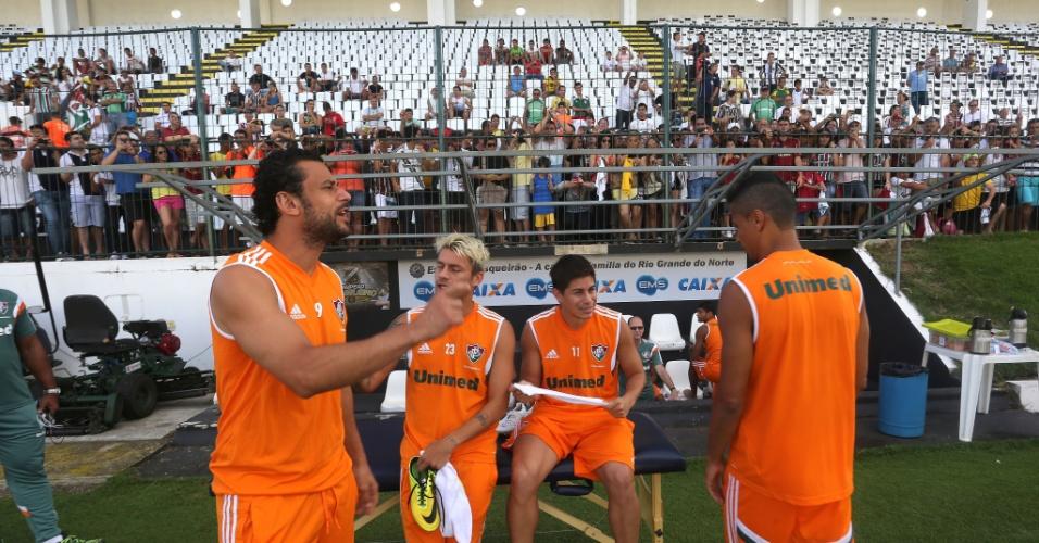 05 ago. 2013 - Fluminense treina em Natal, onde enfrenta o América-RN, com conversa animada entre Fred, Sóbis, Conca e Cícero