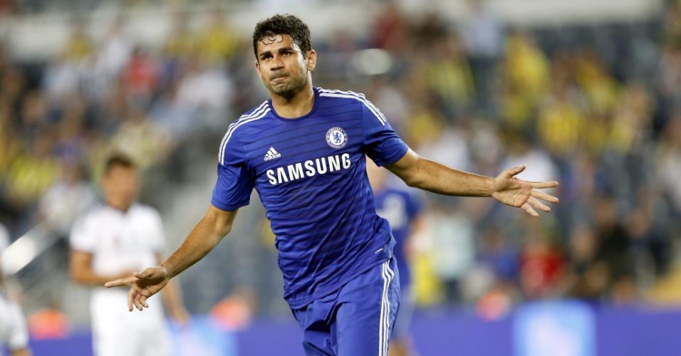 Diego Costa celebra gol no amistoso do Chelsea contra o Fenerbahçe