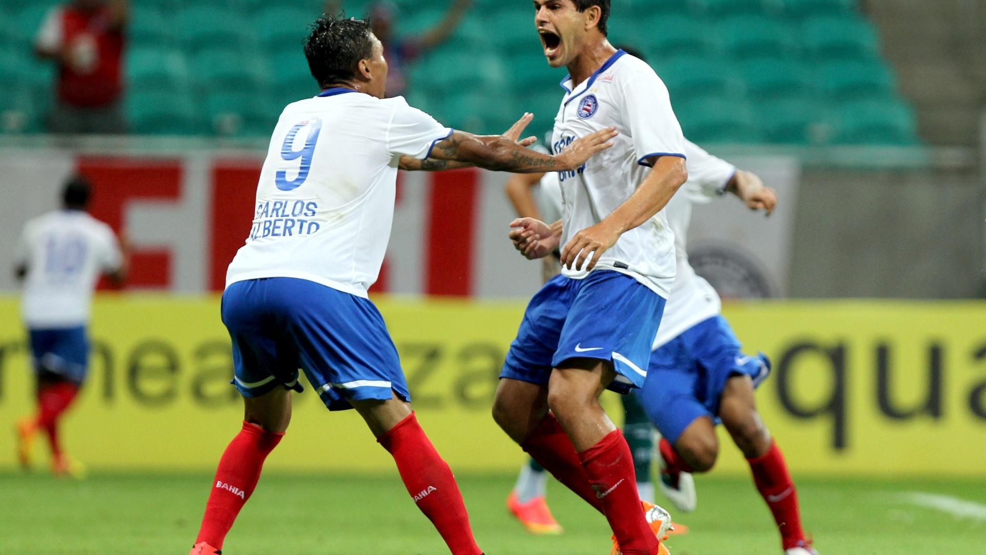 Fahel vibra com seu gol, o 1° do Bahia sobre o Goiás na Fonte Nova