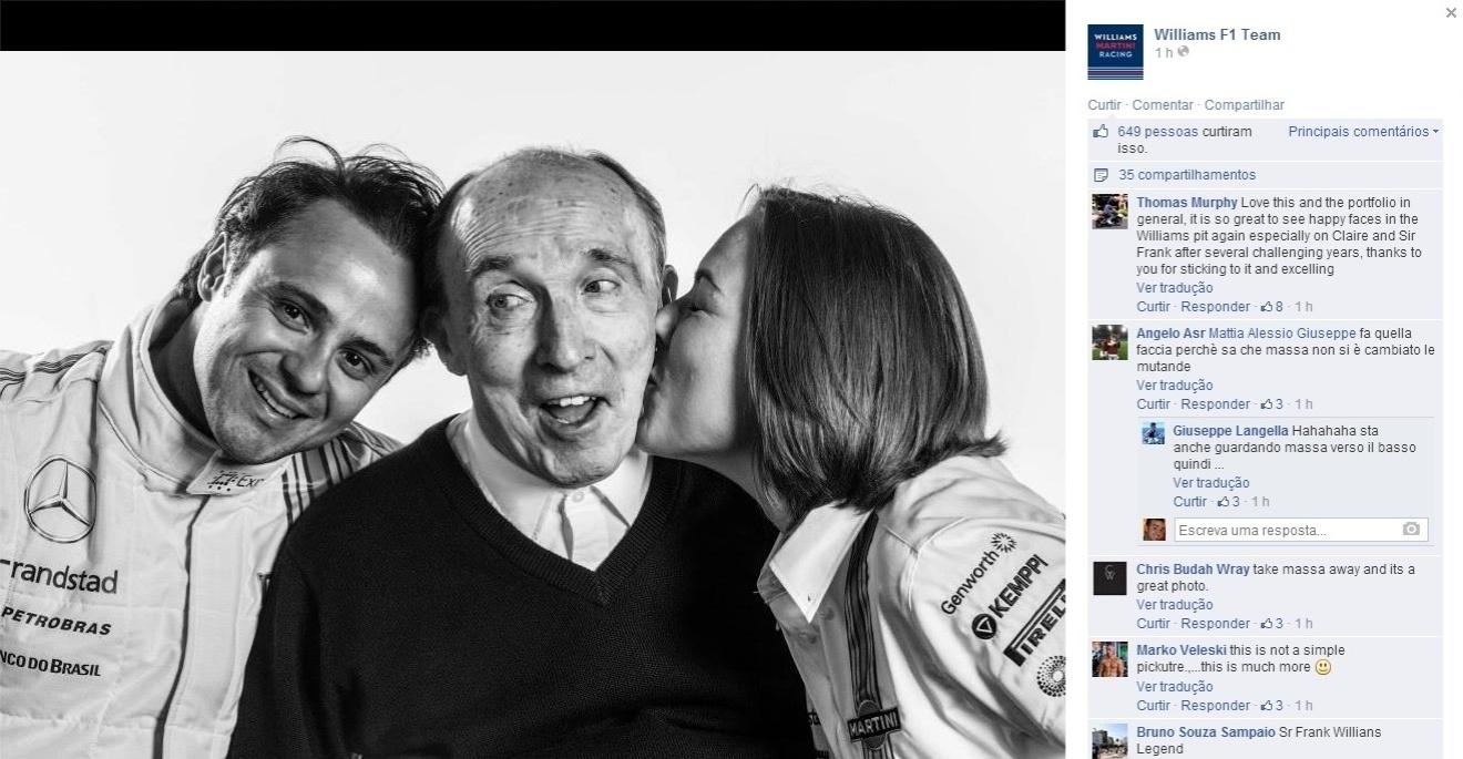 Felipe Massa ao lado de Frank e Claire Williams