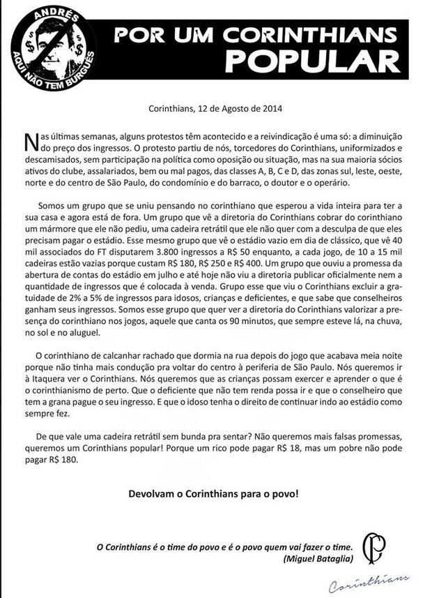 Manifesto apócrifo que está sendo compartilhado na internet contra a política de preços do Itaquerão
