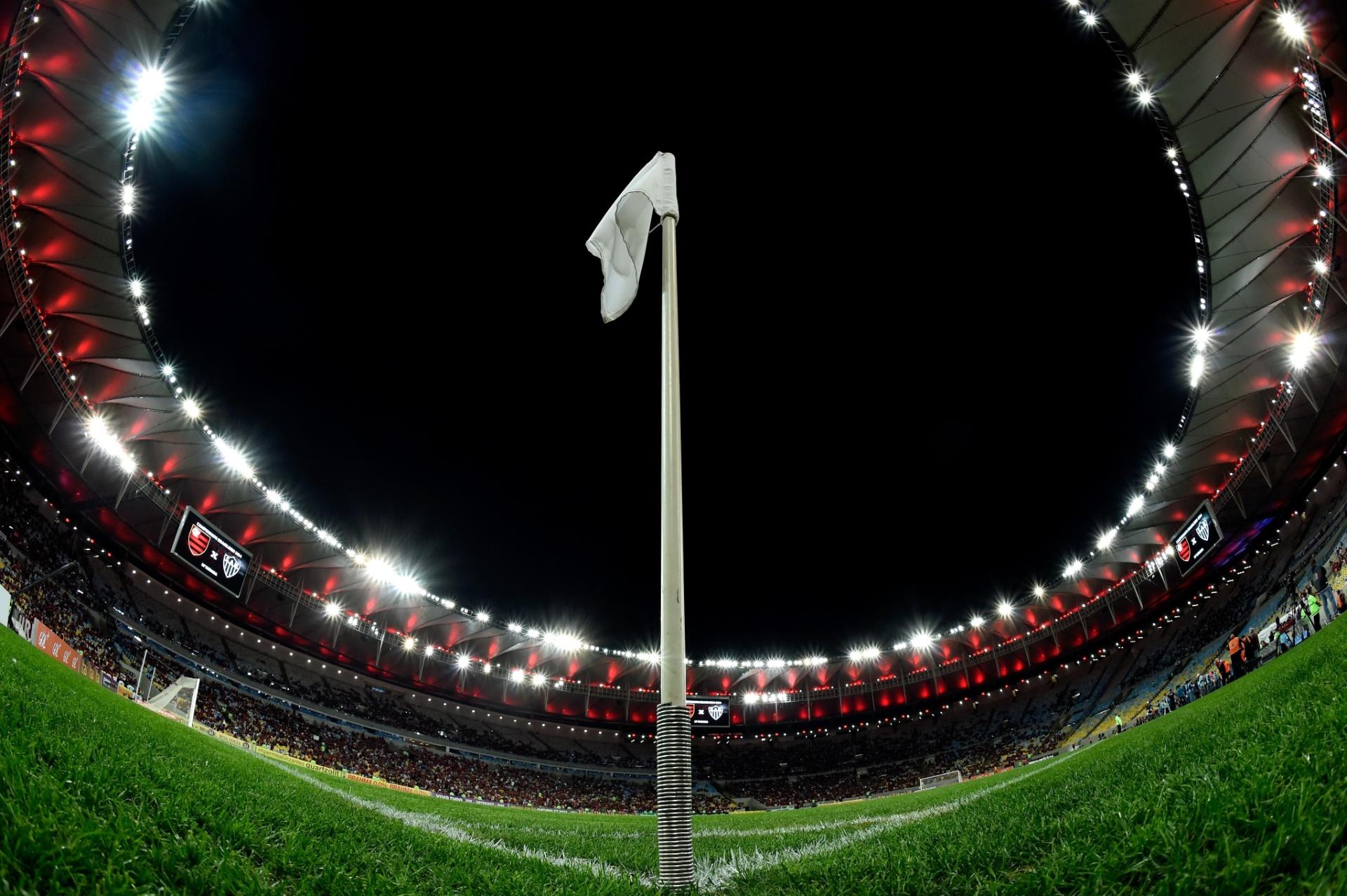 Bela imagem panorâmica mostra o Maracanã antes do duelo entre Flamengo e Atlético-MG