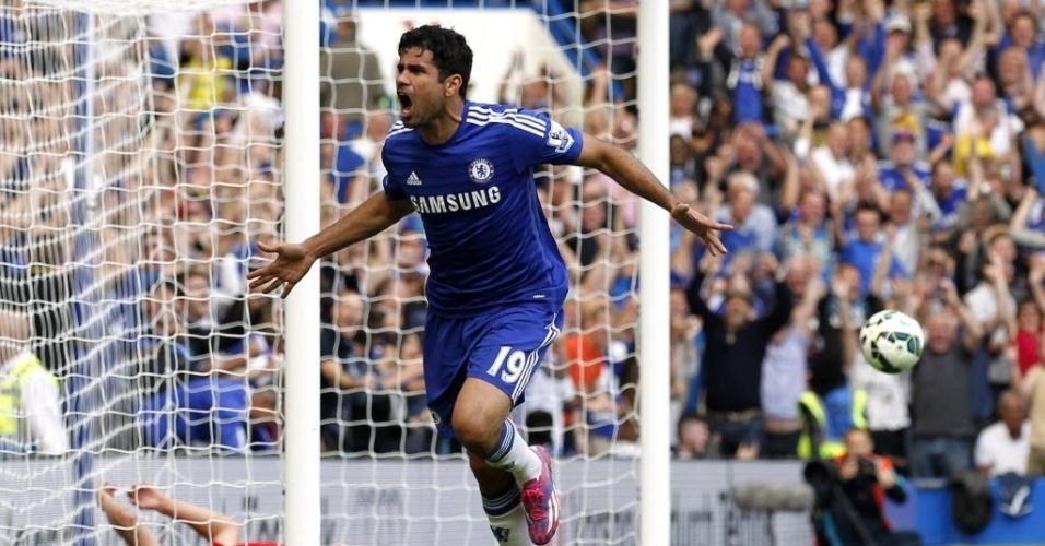 Diego Costa celebra gol marcado na partida contra o Leicester