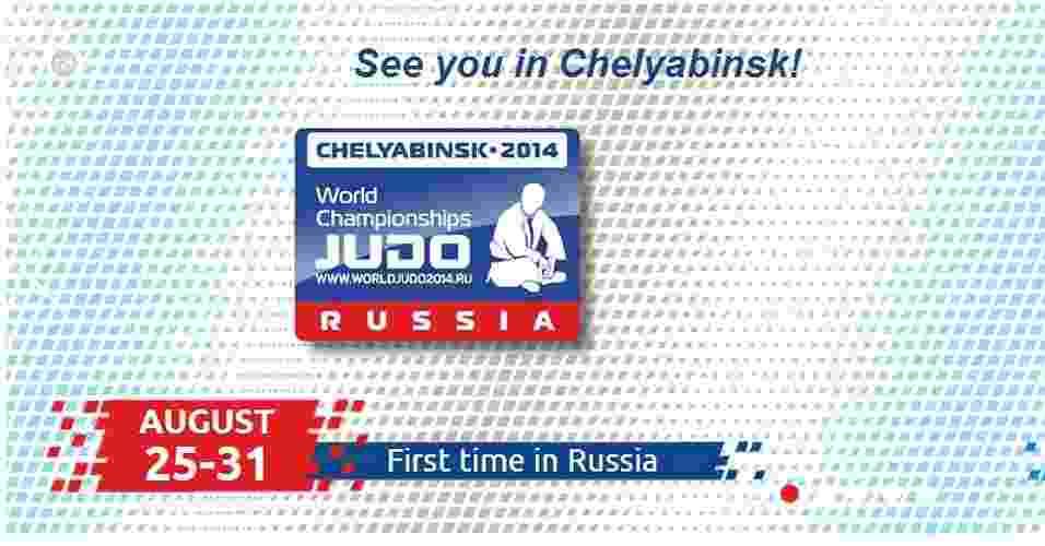 Logo do Mundial de Judô da Rússia, com um avatar criado a partir de uma foto do presidente russo Vladimir Putin - Reprodução