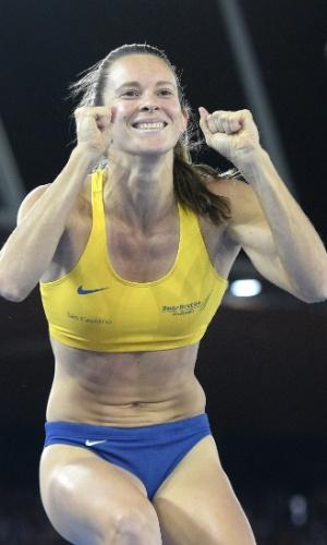 28. ago. 2014 - Fabiana Murer comemora salto na etapa de Zurique, da Liga de Diamante