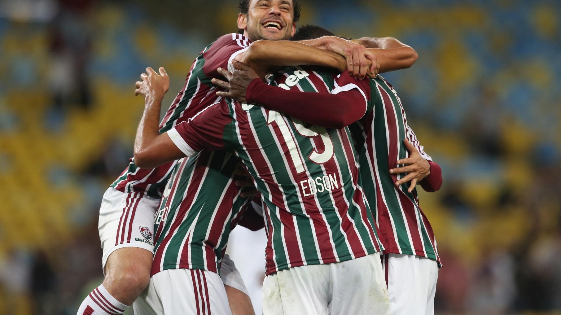 Jogadores do Fluminense comemoram gol contra o Goiás pela Copa Sul-Americana