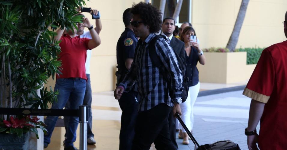 01. set. 2014 - Lateral Marcelo desembarca nos EUA e se junta ao grupo da seleção brasileira, que disputa amistoso contra a Colômbia, dia 5