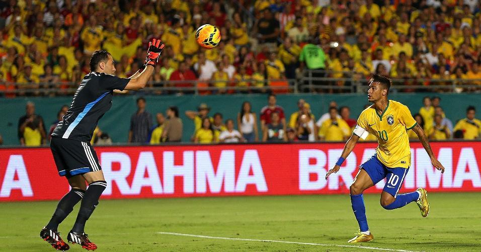Neymar tenta finalização contra o goleiro Ospina