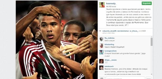 Kenedy disse estar chateado com a postura da torcida antes do gol contra o Cruzeiro - Reprodução/Instagram