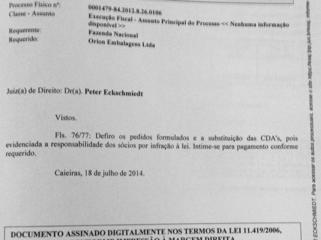 Juiz aceita a inclusão de Andrés entre os réus em ação movida pela Procuradoria da Fazenda