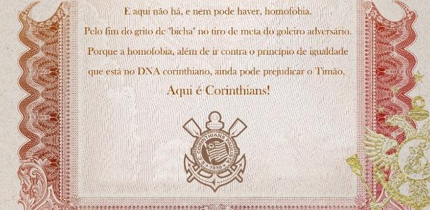 Manifesto corintiano contra a homofobia foi publicado no site oficial do clube - Divukgação (SC Corinthians