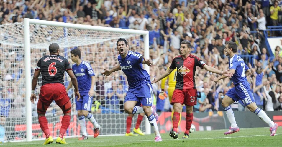 Diego Costa comemora gol do Chelsea contra o Swansea