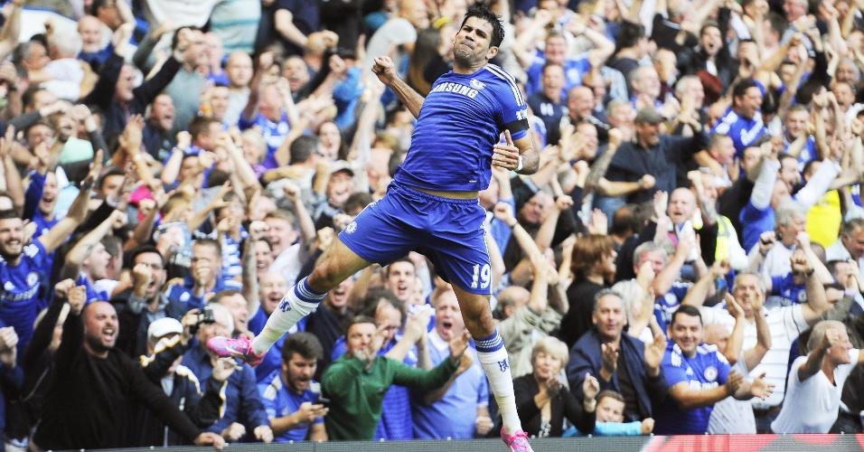 Diego Costa marcou três gols na vitória do Chelsea sobre o Swansea por 4 a 2