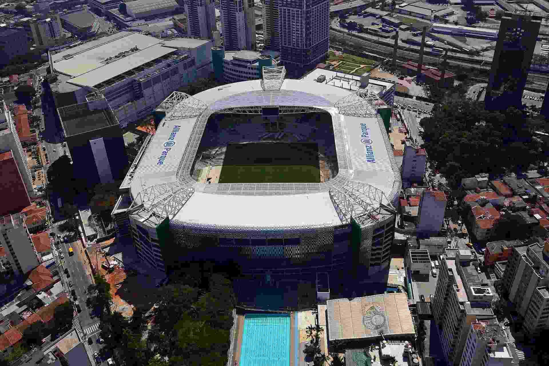 Allianz Parque visto de cima em foto aérea que mostra complexo - Thiago Fatichi/Divulgação
