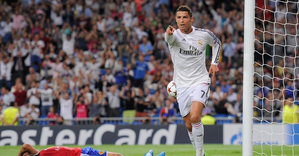 Cristiano Ronaldo comemora gol do Real Madrid em confronto com o Basel