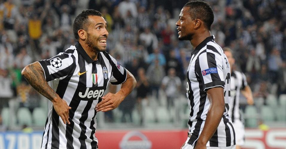 Tevez comemora gol da Juventus contra o Malmo