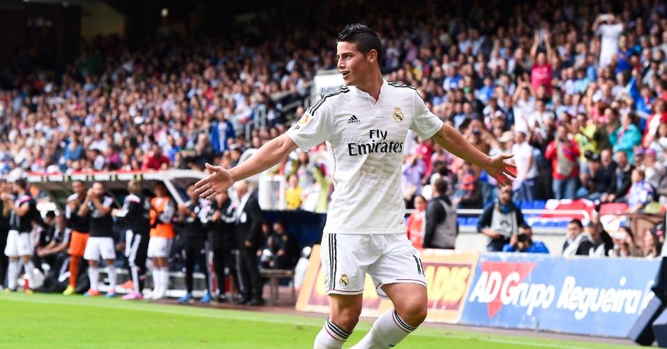 James Rodríguez comemora o segundo gol do Real Madrid no estádio Riazor diante do La Coruña